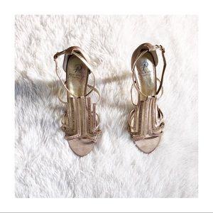 Adriana Papell Gold Elegant Open Toe Heels 8.5